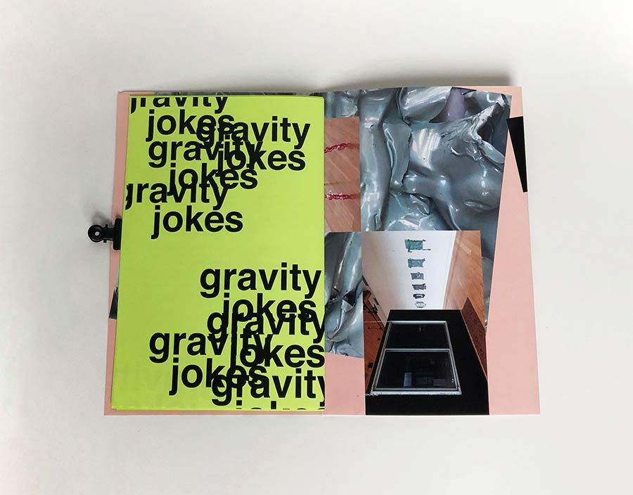 An open spread from the gravity jokes publication